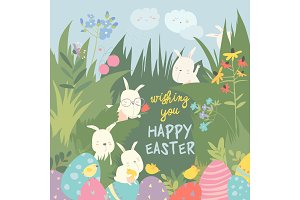 Cute Easter bunnies and easter egg