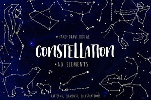 Constellations. Hand draw elements