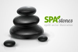 Spa stones black heap