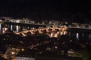 Heidelberg's Old Bridge at night