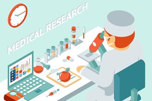 Medical research isometric concept
