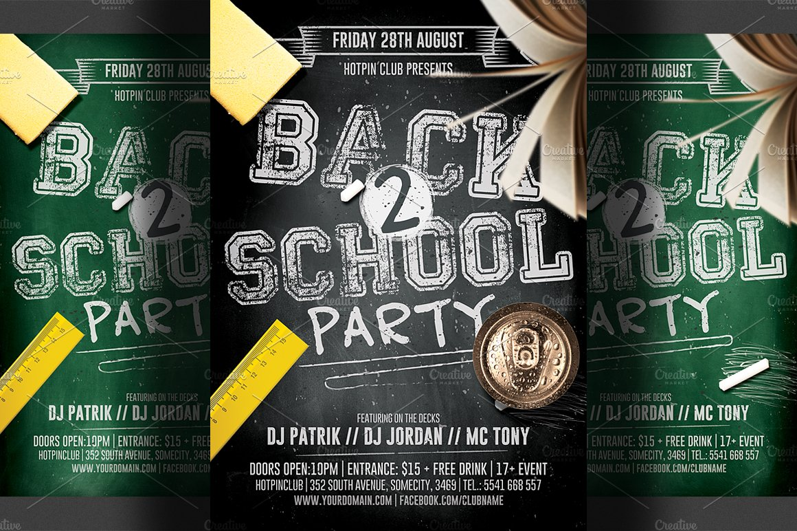 Back To School Flyer Template 2 Flyer Templates Creative Market