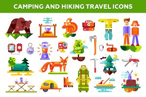 Camping & Hiking Travel Icons Set