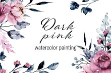 Watercolor dark pink flowers set.