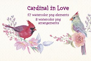 watercolor Cardinal in love clip art