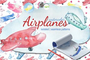 Airplanes watercolor set