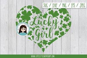 St. Patrick lucky girl SVG DXF