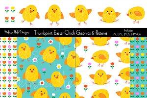 Thumbprint Easter Chicks & Patterns