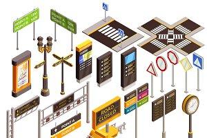 City navigation isometric elements