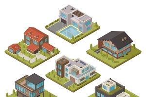 Isometric house icon set