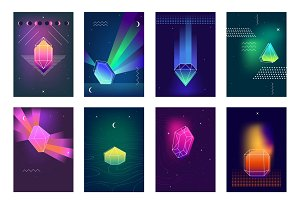 Polygonal crystals colorful icons
