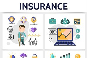 Flat insurance colorful concept