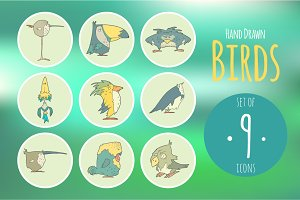 Set of hand drawn vector birds