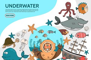 Flat underwater life elements set