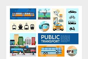 Public transport infographic set
