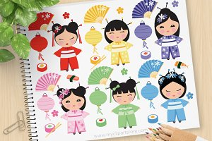 Japanese Kokeshi Dolls Clipart + SVG