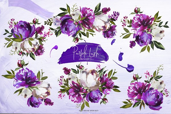 Purple Lush Floral Clip Art Kit