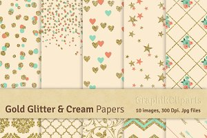 Gold Glitter & Cream Digital Papers