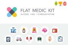 Flat medic icon and illustration kit