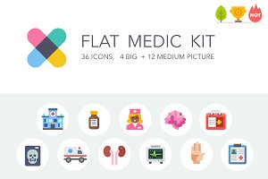 Flat medic icon and illustration kit