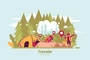 Traveler - Vector Illustration