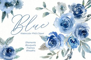 Blue Watercolor Roses Flowers PNG