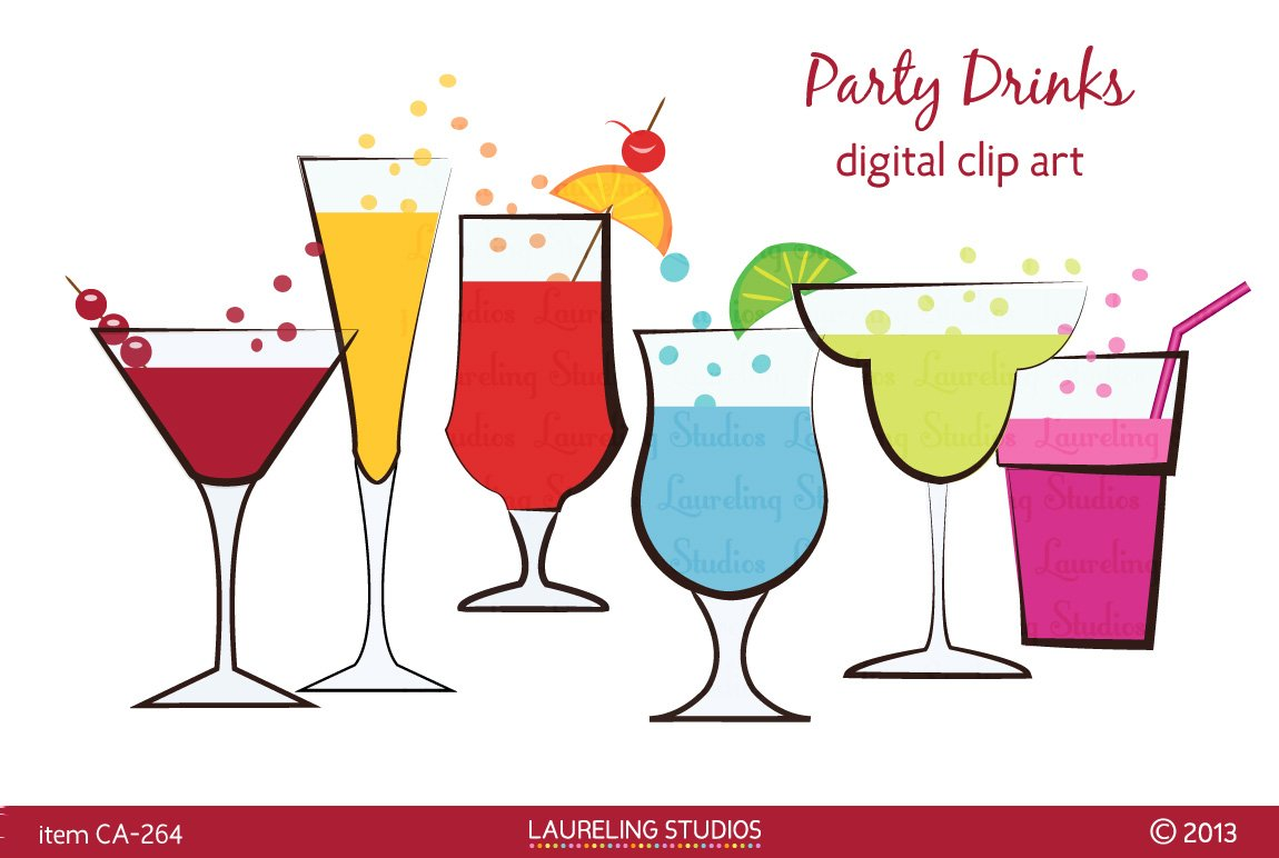 Party drinks clip art illustrations creative market for Best mixed drinks for parties