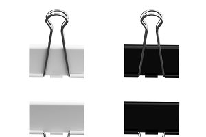 Black and white metal paper binder c