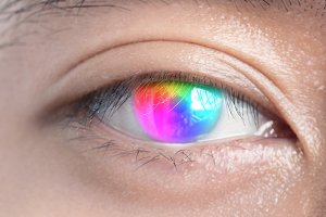 Close-Ups of colorful rainbow eye. T
