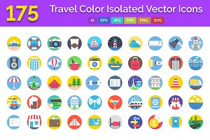 175 Travel Color Isolated Icons Pack