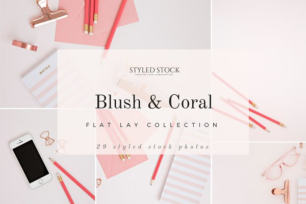 Templates: Fempreneur Styled Stock - Blush & Coral Photo Bundle
