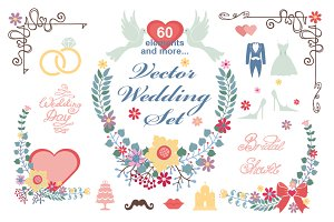 Wedding Floral  vector decor set 01