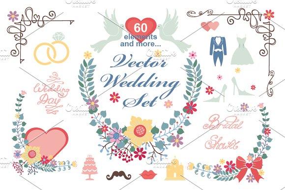 Wedding Floral  vector decor set 01