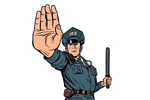 police officer stop gesture. isolate