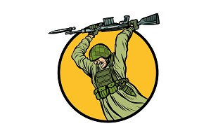 symbol bayonet fighting. soldiers at