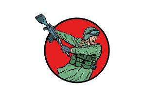 symbol kick the gun butt. soldiers