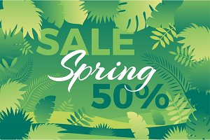 Spring sale banner with leafs Vector