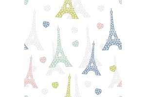 Seamless pattern Paris. French