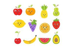 Cute fruits in trendy kawaii style