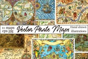 Vector pirate treasures maps