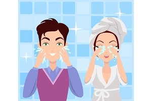 Man and Woman Washing their Faces