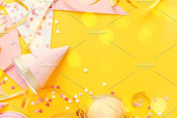 Birthday Party Background on Yellow ~ Holiday Photos ~ Creative Market