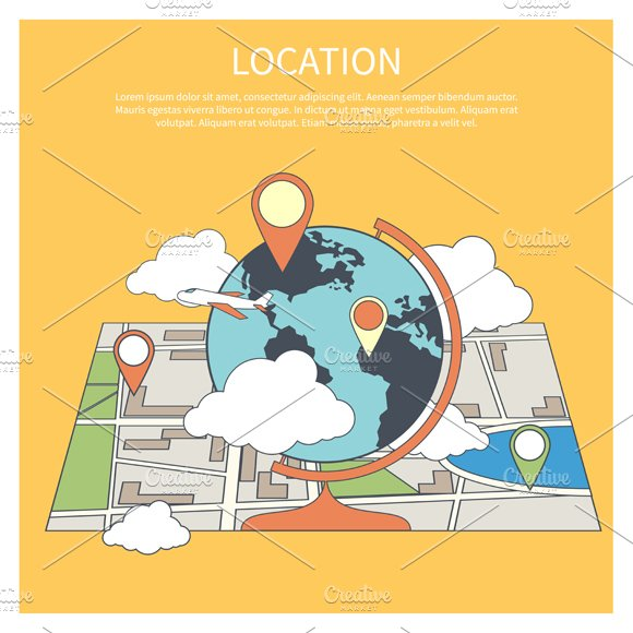 Location Concept. World Map - Illustrations
