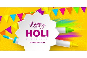 Happy Holi colorful design for