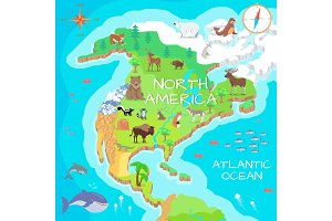 North America Isometric Map with