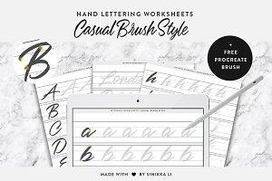 Hand Lettering Worksheets + Brush