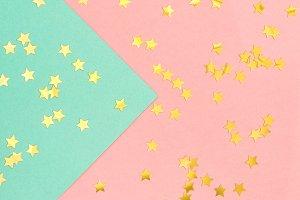 Golden confetti pink blue