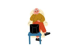 Senior Man Sitting on Armchair