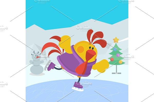 Rooster Bird Skate on Skating Ring