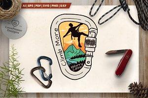 Climb More - Mountain Logo Badge